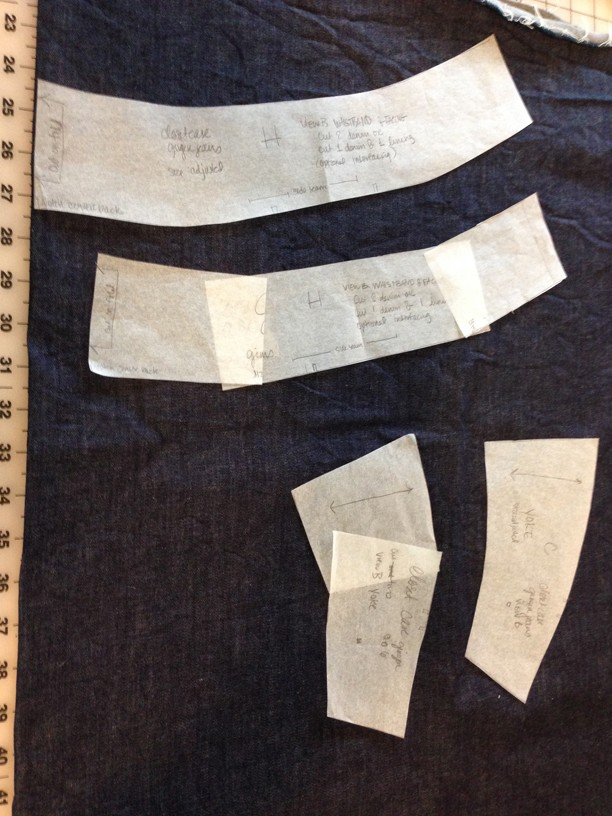 slash and spread method used on original pattern pieces for waistband and yoke, then retraced to create new pattern pieces.