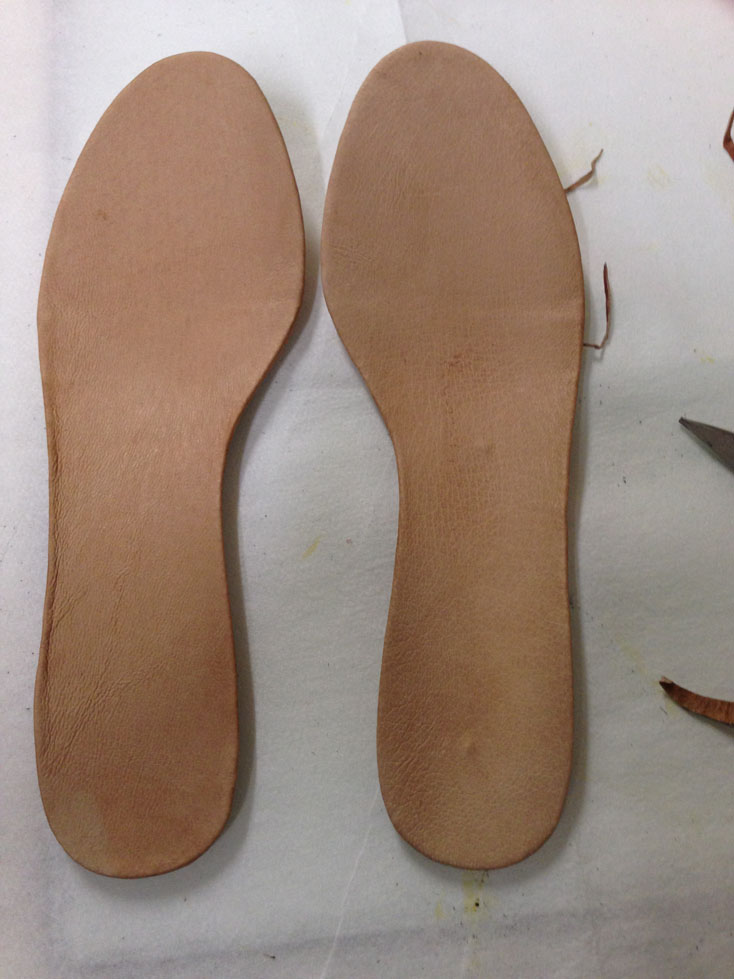 finished leather insoles.