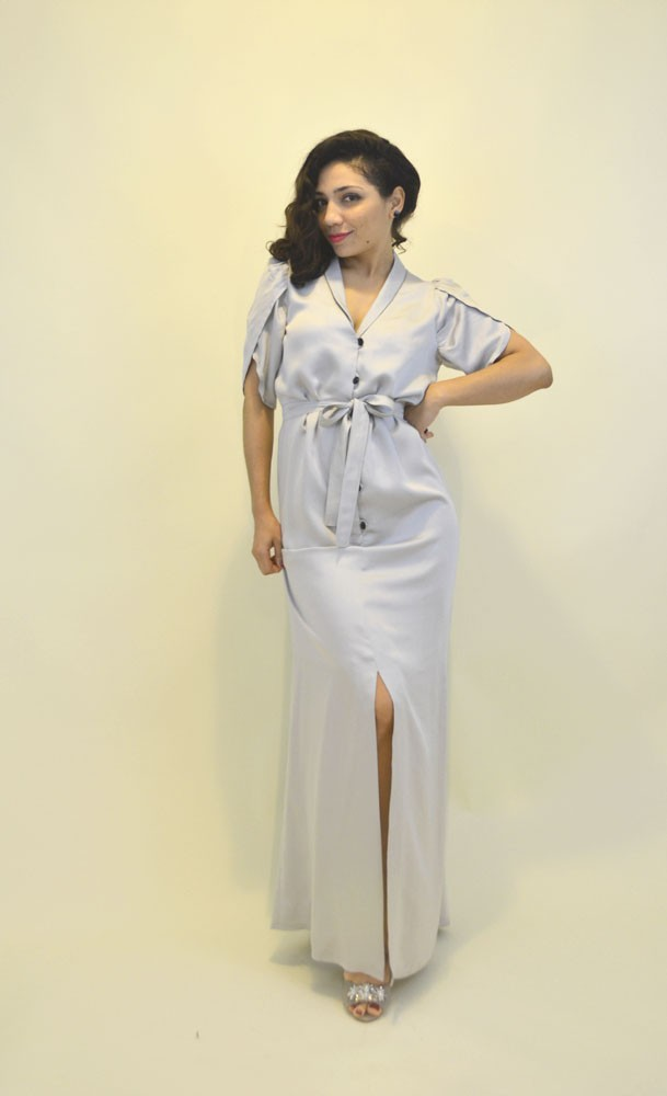 Vintage Givenchy Vogue Gown in Silver | Jasika Nicole